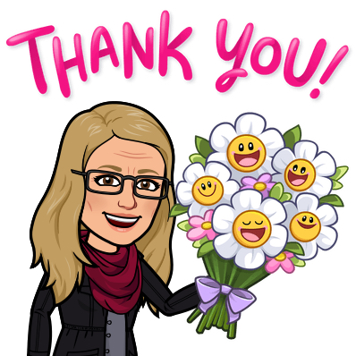 avatar image holding bouquet of flowers saying thank you